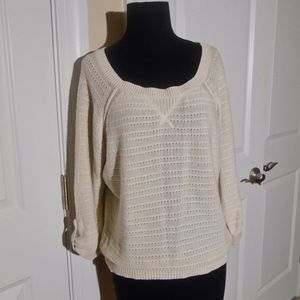 AEO 3/4 Sleeve Button Tab Pullover Sweater